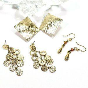 Gold Tone Earring Lot Hooks Posts 3 Pairs